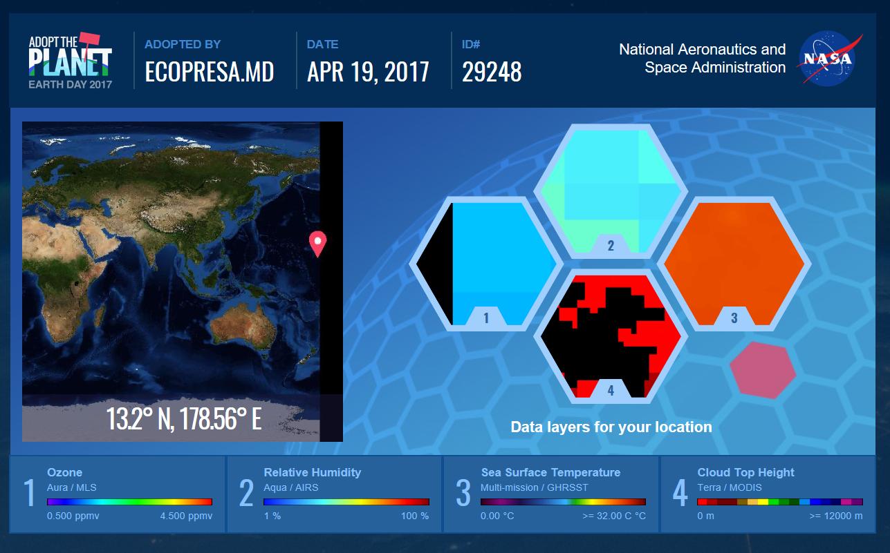 """NASA îți dă voie să """"adopți"""" planeta. Ecopresa.md a adoptat Oceanul Pacific de Nord"""