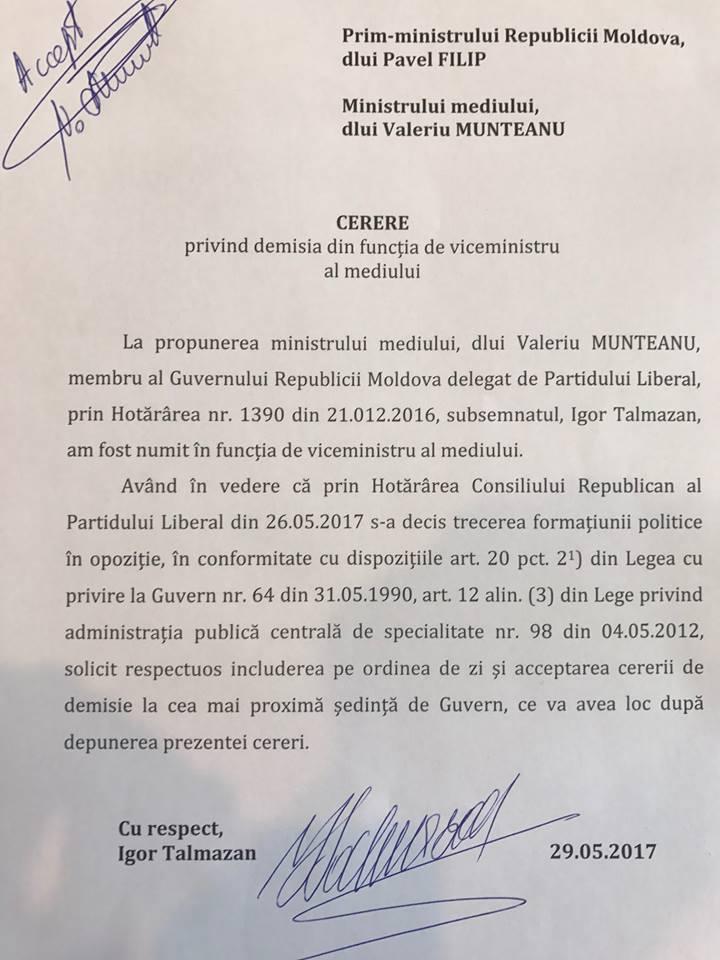 Cererea de demisie a viceministrului Mediului, Igor Talmazan