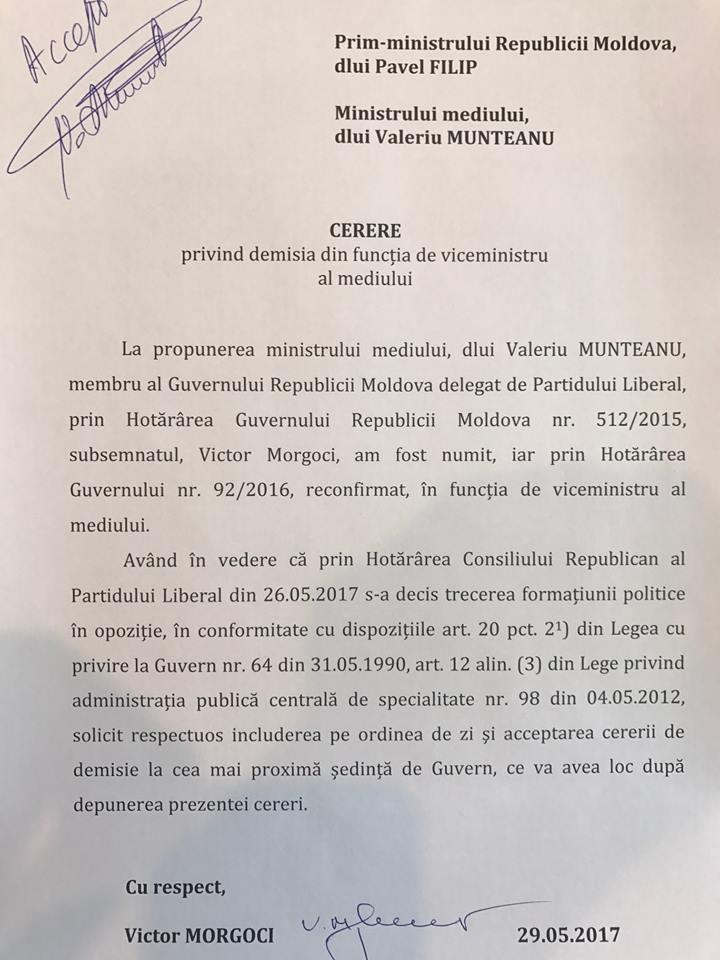 Cererea de demisie a viceministrului Mediului, Victor Morgoci