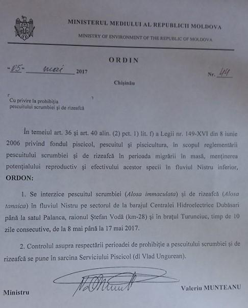 Ordin de interzicere a pescuitului la scrumbie și rizeafcă, emis de Ministerul Mediului la 5 mai 2017