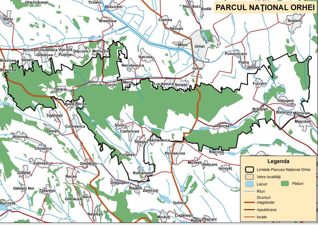 Harta Parcului Naţional Orhei