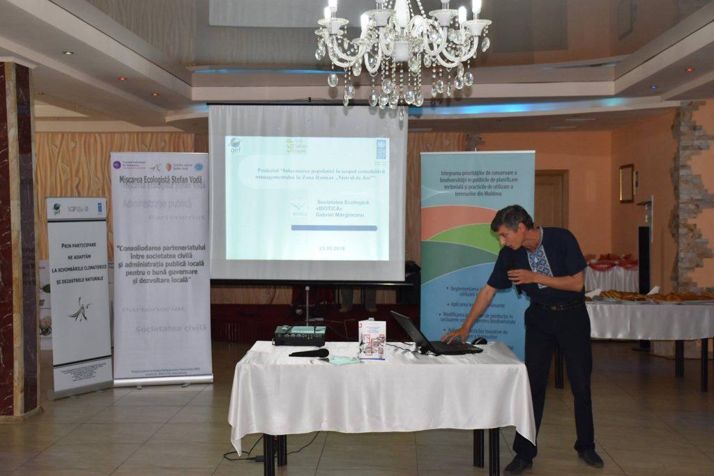 """Gabriel Mărgineanu prezintă rezultatele proiectului """"Informarea populaţiei în scopul consolidării managementului în Zona Ramsar """"Nistrul de Jos"""", finanțat de GEF SGP Moldova"""