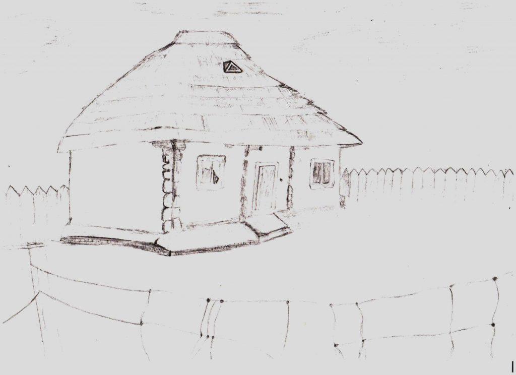 Casă tradițională în satul Susleni, raionul Orhei. Desen de eleva Alina Condrea