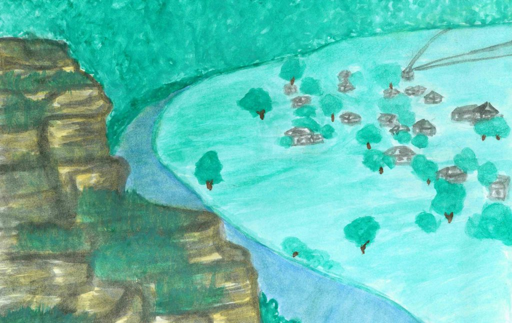 Promontoriul Răutului. Desen realizat de Madina Erhan