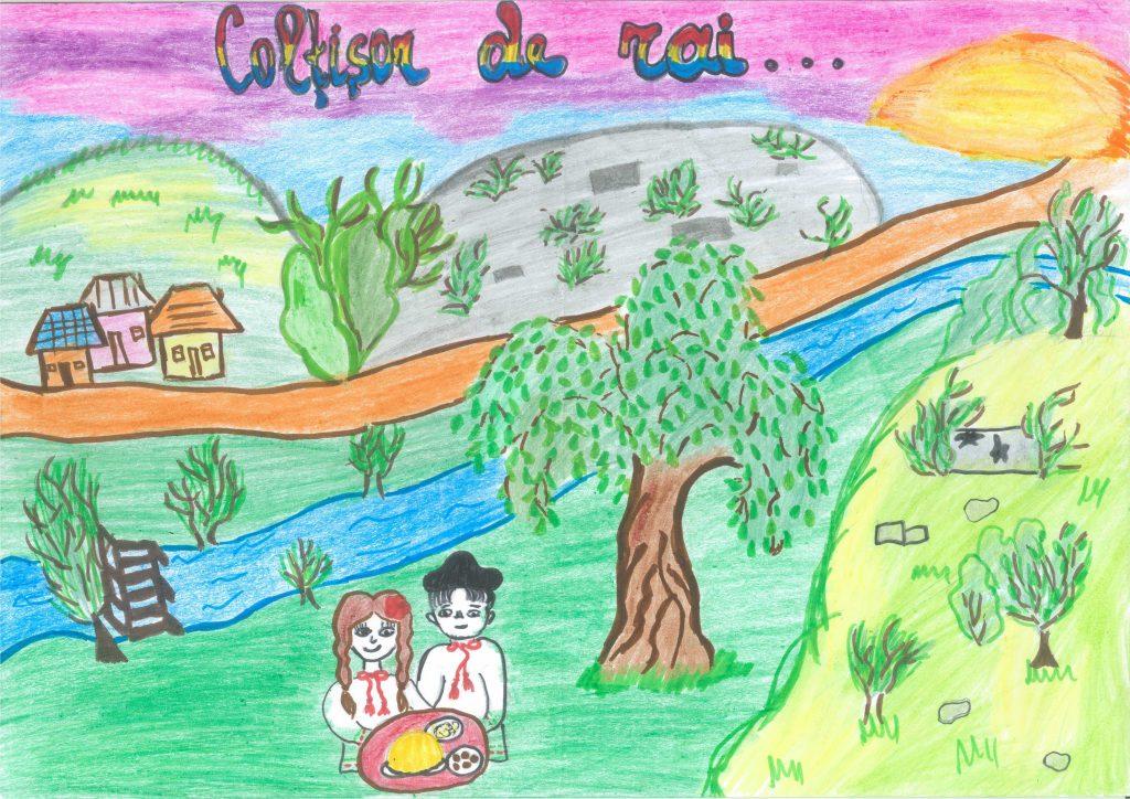 La Răut în satul Mașcăuți. Desen realizat de eleva Sanda Plăvan