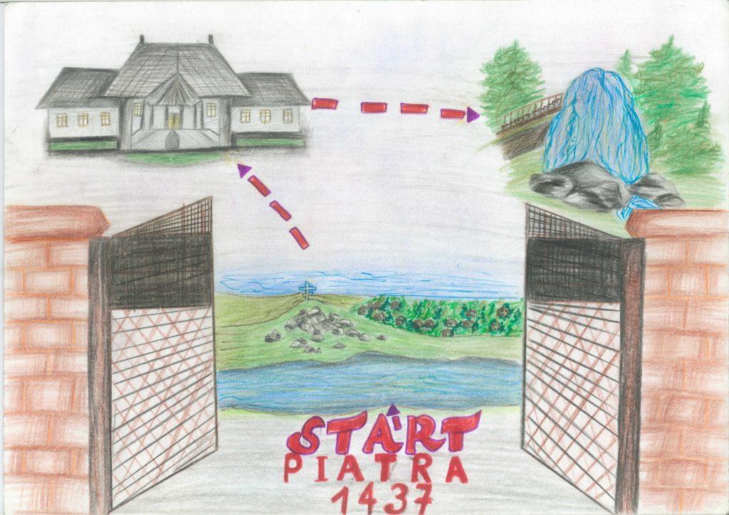 Conacul din satul Piatra, raionul Orhei. Desen relizat de eleva Livia Pojar