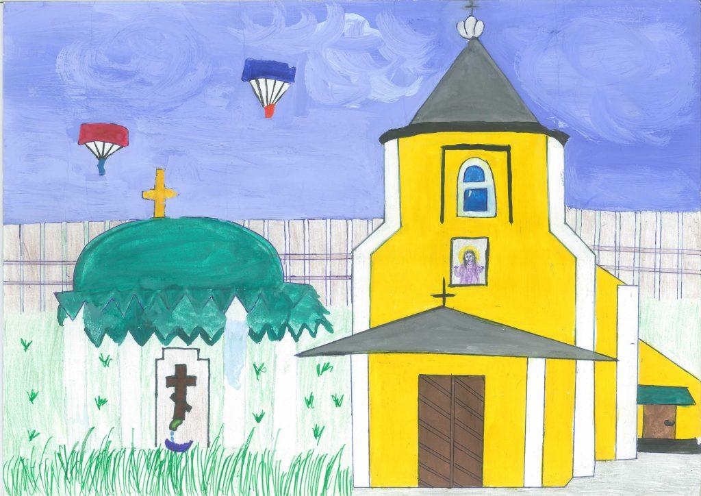 Biserica de la Marcăuți - desen de eleva Sanda Ursu
