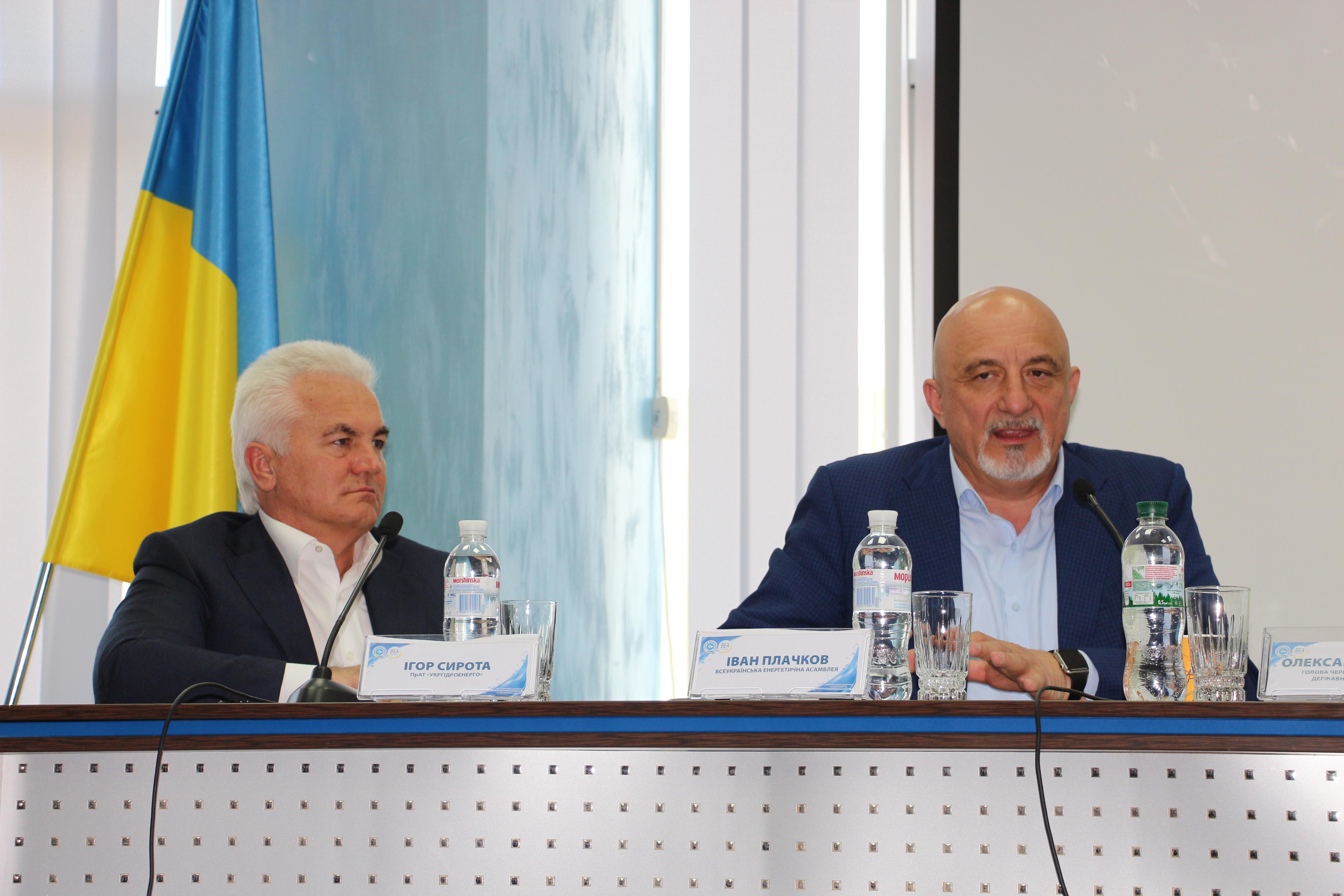 """Prezidiumul Formului: Igor Sirota, directorul general al """"Ukrhidroenergo"""" și Ivan Plachkov, ex-ministru al Energiei, astăzi șeful Asambleei Ucrainene pentru Energie (organizatorul Forumului)"""