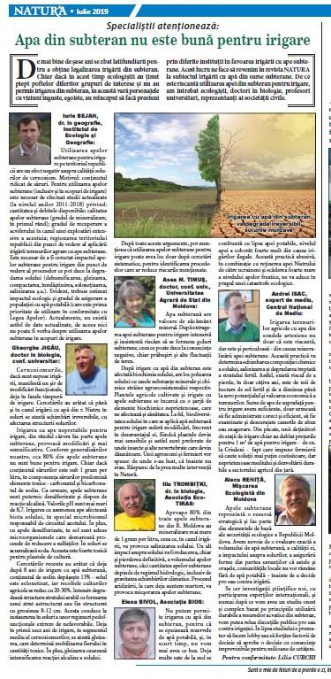 Revista NATURA publică opiniile specialiștilor în domeniul mediului și agriculturii privind consecințele irigării cu apa din surse subterane