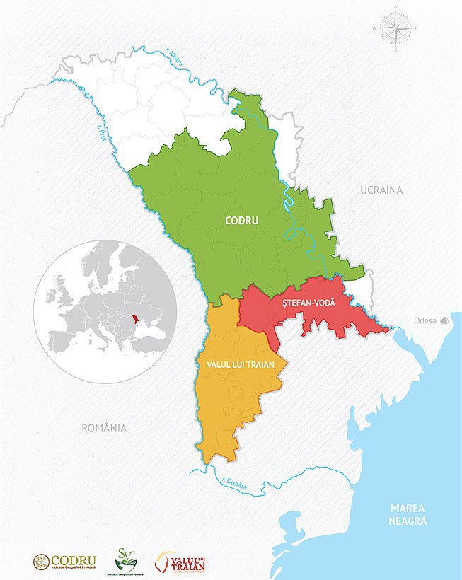 Arealul viticol al R. Moldova, cu 3 regiuni vitivinicole istorice: Valul lui Traian (sud-vest), Ștefan Vodă (sud-est) și Codru (centru) Sursa: wineofmoldova.com