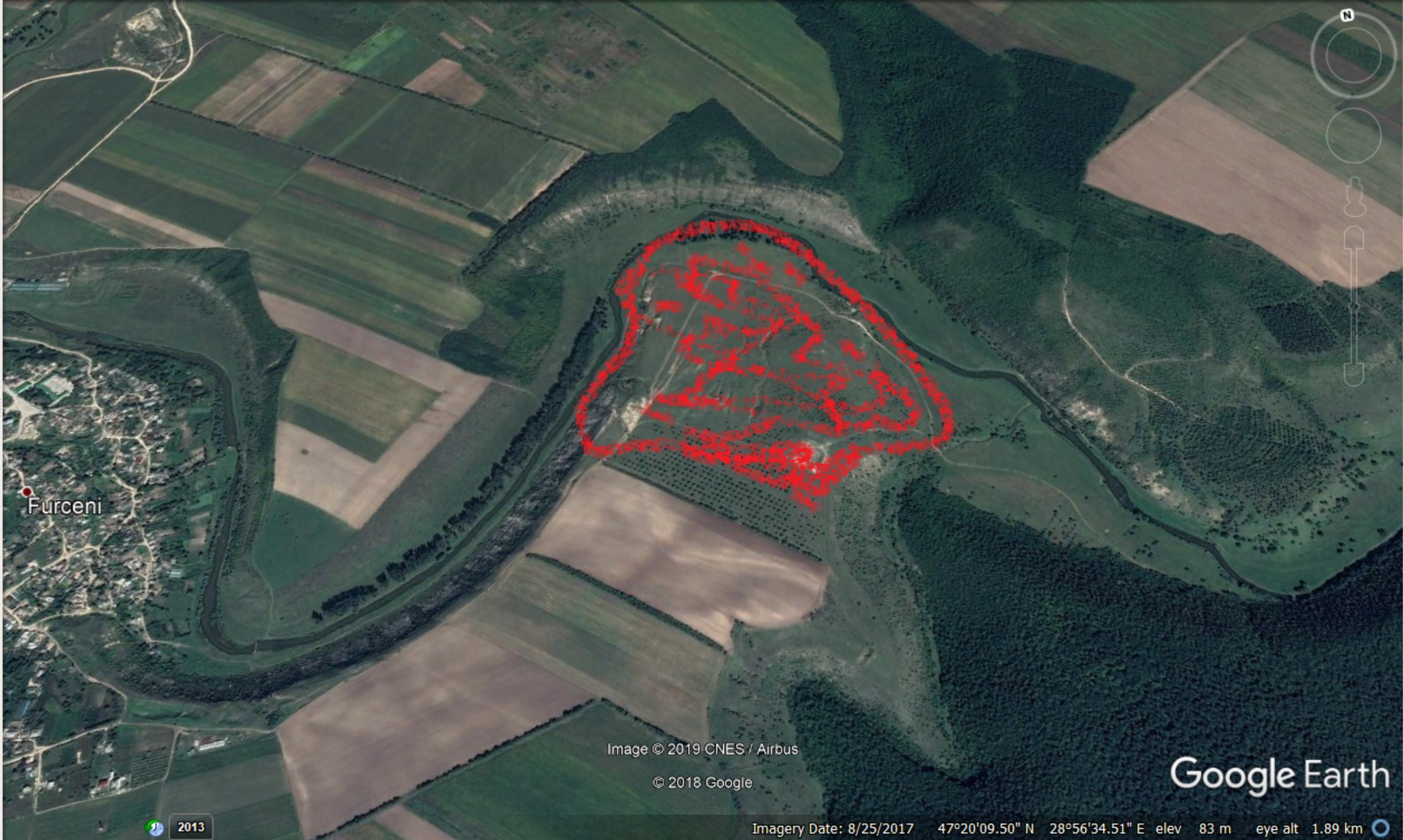 Arealul afectat de foc, în Rezervația Orheiul Vechi Sursa: Ecopresa.md, conform mărturiilor de la fața locului