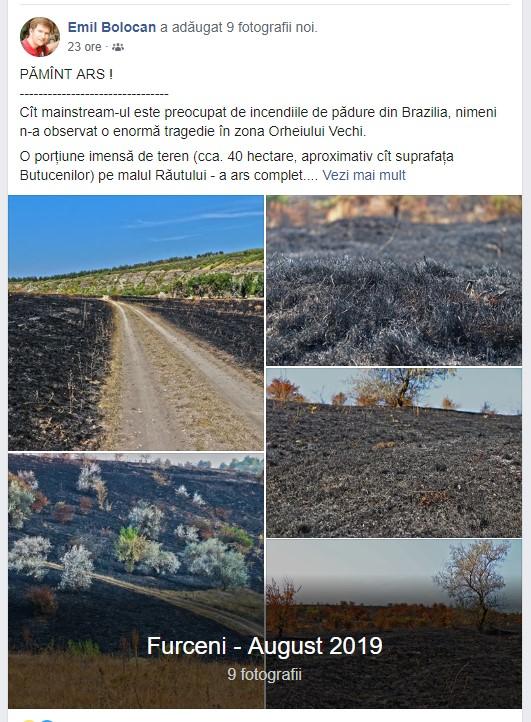 Tablou dezolant în Rezervația cultural-naturală Orheiul Vechi, în apropiere de Furceni Sursa foto: Facebook.com/Emil Bolocan