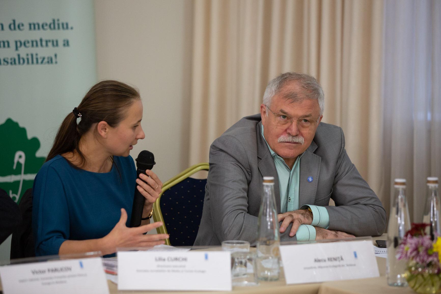 Lilia Curchi, directoare executivă, AJMTEM şi Alecu RENIŢĂ, preşedinte, Mişcarea Ecologistă din Moldova