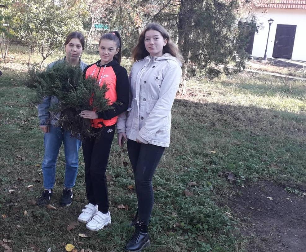 Elevele Gimnaziului Piatra, voluntare la activitatea de plantare în parcul Conacului familiei Lazo din s.Piatra