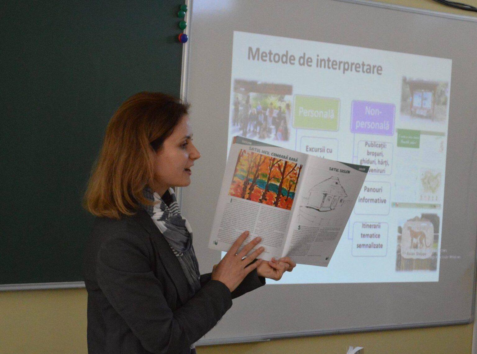 Elena Scobioală la o lecţie de interpretare a naturii la Susleni