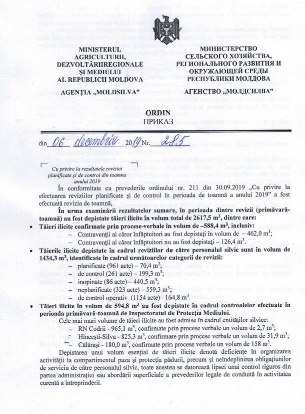 """Ordinul intern al Agenţiei """"Moldsilva"""" privind tăierile ilicite depistate în ariile protejate de stat. Sursa: natura.md"""