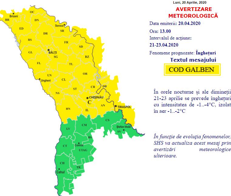 Meteorologii anunță cod GALBEN de îngheț. Ce temperaturi ne așteaptă