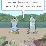 În pandemia de COVID-19, cu deşeuri au fost invadate cele mai pitoreşti locuri din Republica Moldova. Ilustraţie: Alex Buretz, pentru Ecopresa.md