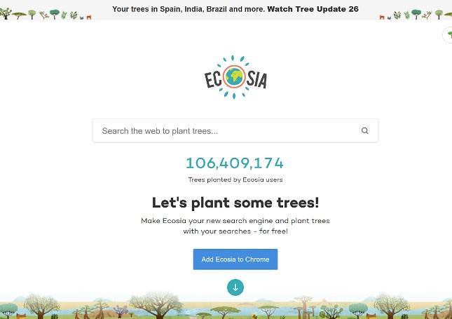 Ecosia, un motor de căutare care donează 80% din profit pentru plantarea copacilor