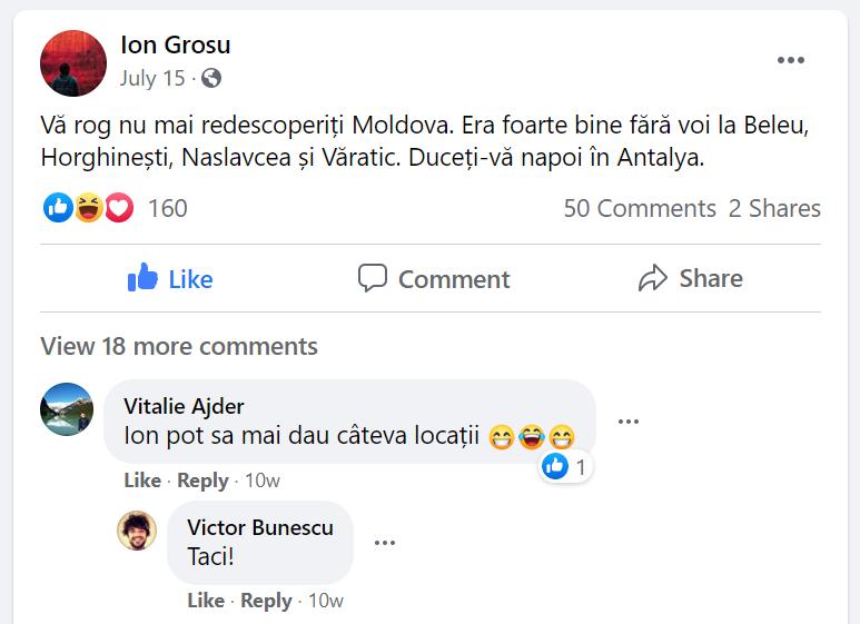 """""""Era bine fără voi la Beleu, Hogineşti, Naslavcea şi Văratic"""" - scrie bloggerul Ion Grosu ca răspuns la impactul """"turiştilor"""". Sursă: Facebook"""