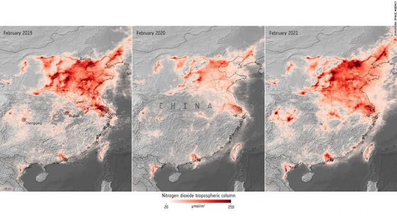 Imagini din satelit. Nivelul poluării crește dramatic în 2021 față de 2020, unele regiuni depășesc de două ori nivelul pre-pandemic