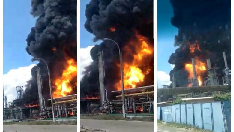 FOTO/ Explozie și incendiu la o rafinărie din România. Impactul exploziei asupra mediului poate fi major